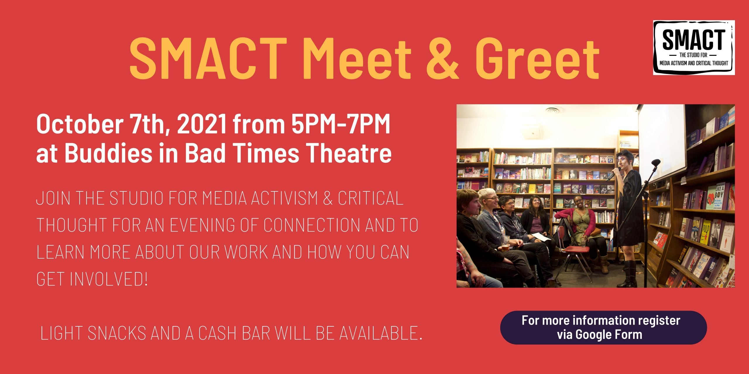 SMACT Meet & Greet banner - Oct 7, 5-7pm Buddies in Bad Time Theatre